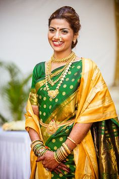 Maharashtrian bride, Saudamini on her wedding day Beautiful Saree, Beautiful Bride, Beautiful Outfits, South Indian Weddings, South Indian Bride, Marathi Bride, Marathi Nath, Marathi Wedding, Maharashtrian Saree