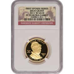 2011-W First Spouse Julia Grant Half Ounce Gold Coin PF70 UC NGC