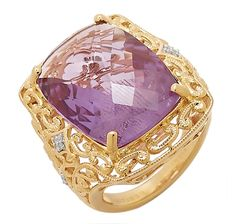 Tracey Bregman Amethyst & Diamond Sterling Silver & 18K Yellow Gold Plate Ring