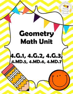 "This is a complete Geometry common core Unit for fourth grade math! You have everything you need!! This contains endless amounts of items including assessments, independent and small group activities, games, projects and ""I Can"" statements for your board."