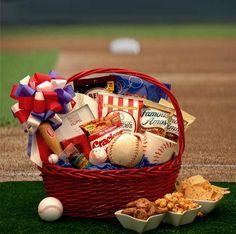American Baseball Fanatics Gift Basket #Baseball #Ballpark #TakeMeOuttotheBallGame #Sports #Mens #MensGifts #GiftIdeas