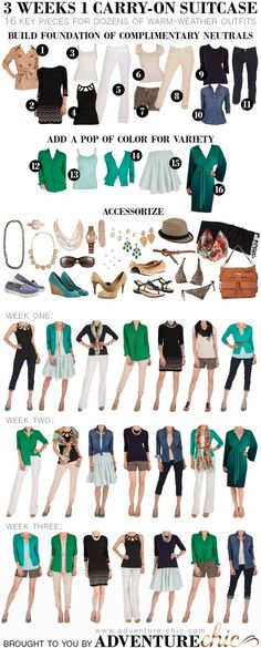3 Weeks 1 Carry-On Suitcase (Warm Weather Edition) This blog has so many beauty & fashion tips for fabulous travels