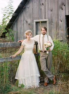 wedding picture by barn - classic style dress