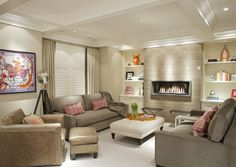 Drooling over this living room with wall #fireplace, built-in #shelves and tons of subtle #texture. So beautiful!
