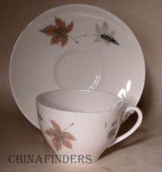 ROYAL DOULTON china TUMBLING LEAVES Cup and Saucer Set
