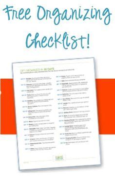 FREE 30-Day Organizing Checklist! #organization