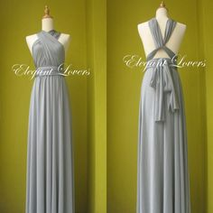 Grey Bridesmaid Dress Ball Gown Floor Length Prom by Elegantlovers