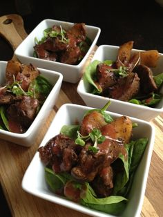Chicken Livers with Apples & Strawberry Coulis Tapas