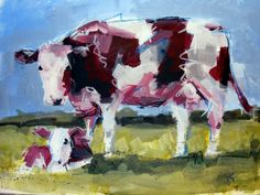 mixed media paintings | Original cow art painting 'Next Country Model'
