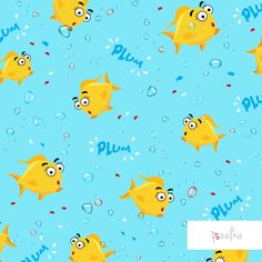 Gold Fishes - textile surface pattern design with yellow fishes in sea among the bubbles color.