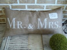 Mr  Mrs Burlap Pillow  with Est Date by SimplyFrenchMarket, $32.00 wedding
