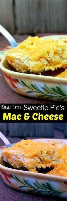 We absolutely ADORE Sweetie Pie's Mac & Cheese but it makes a huge lasagna pan so we halved it for this 2 quart casserole version for our family of 4.  It's insanely  decadent and delicious with 4 kinds of cheeses.  AMAZING!