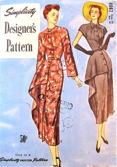 1940s DRAMATIC Dress Pattern SIMPLICITY 8062 Stunning Side Drape Panel Day or Cocktail Party Evening Dress Bust 32 Vintage Sewing Pattern