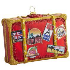Sparkling Noel: Pier 1 Glass Suitcase Ornament