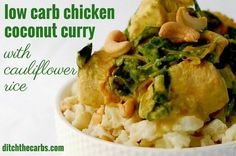 Super easy slow cooker recipe for low carb chicken coconut curry, with a cauliflower rice. | ditchthecarbs.com