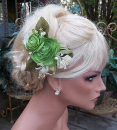 Bridal Fascinator Lime Green Double Ranunculus by kathyjohnson3, $24.00