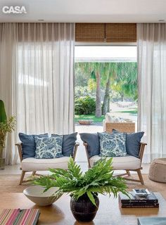 Use the curtains to walk the fine line of masking and peeking Home Interior Design, Interior Architecture, Interior Decorating, Living Room Designs, Living Room Decor, Living Spaces, Beach Cottage Decor, Home Fashion, Outdoor Furniture Sets