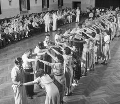 Patients square dancing at mental hospital. Location: Worchester, MA, US Date taken: August 1949 Photographer: Herbert Gehr