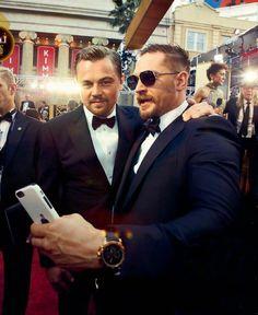Tom Hardy and Leo DiCaprio - Oscars 2016