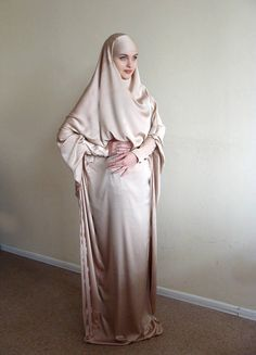 Long Silk Khimar, Elegant muslim dress, Beige Burqa,Dubai Abaya,  traditional hijab,ready to wear hij