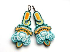 Morning Garden - Earrings - Soutache Jewelry - Hand Embroidered by Bajobongo on Etsy