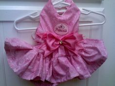 Pink Princess #Dog Dress Custom made to your dogs size. Pink fabric with a Princess Logo and a Big Pink satin Bow.  $40.00