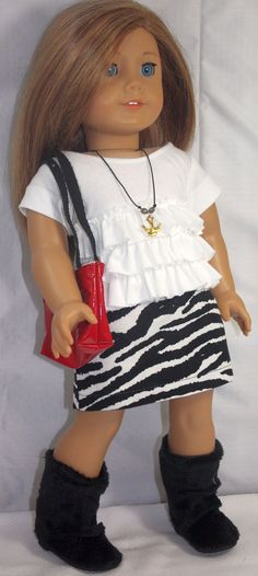 American Girl Doll Clothes-Ruffled Shirt, Animal Print Skirt, Totebag, Boots and Necklace