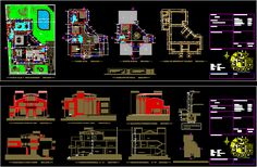 Housing floors and attic) in AutoCAD Swimming Pool Plan, Swimming Pool Designs, Bloc Autocad, Villa Pool, Modern Bungalow, Plan Drawing, Belle Villa, Photoshop, Construction