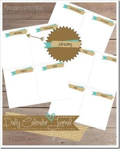 Free Monthly Divider Cards.  Laminate and use for daily calendar journaling.