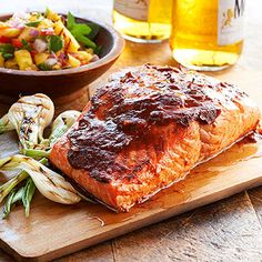 Ancho-Guajillo Salmon with Grilled Pineapple Salsa From Better Homes and Gardens, ideas and improvement projects for your home and garden plus recipes and entertaining ideas.