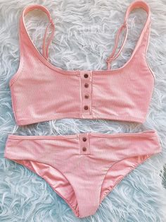 Ribbed Sporty Button Up Crop Top Bikini Set - worthtryit.com
