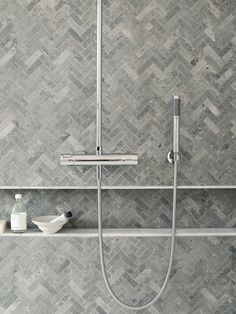 Just Pinned to Salle de bain: I like these shower tiles for the same reasons I like the floor tiles. They are a little different then the floor tiles so it doesn't blend too much. Modern Small Bathrooms, Small Bathroom Tiles, Modern Bathroom, Shower Tiles, Kitchen Tiles, Kitchen Grey, Kitchen Floor, Shower Niche, Grey Tile Shower