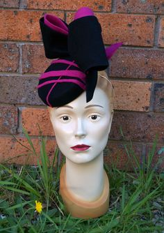 Pink and black pillbox fascinator in felt, by Tanith Rowan Designs