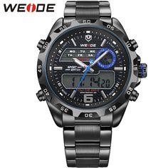 Azul hombres del reloj de acero WEIDE hombres de la marca de relojes de lujo de acero completo reloj de cuarzo pantalla LED 30 M resistentes al agua(China (Mainland))