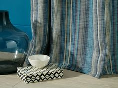 Maya Indigo is a beautifully textured, multi-coloured fabric, in contrasting shades of blue, beige & grey making them perfect for statement curtains, roman blinds or cushions. Drapery Fabric, Curtains, Roman Blinds, Shades Of Blue, Boho Decor, Maya, Indigo, Upholstery, Artisan
