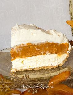 No Bake Triple Layer Pumpkin Pie. Delicious cheese cake layer, topped with a pudding pumpkin layer, then a final layer of whipped cream.