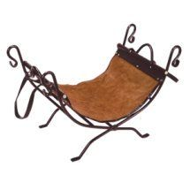 Log Holder Bronze Wrought Iron With Suede & Leather Trim Carrier - Fireplace Accessories www. Log Carrier, Wood Cradle, Log Holder, Gas Logs, Fireplace Tools, Fireplace Accessories, Butterfly Chair, Wrought Iron, Suede Leather