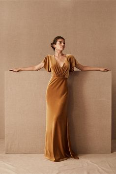 Jenny Yoo Ellis Velvet Dress by in Yellow Size: Women's Dresses at Anthropologie Open Back Dresses, Formal Dresses, Unique Dresses, Elegant Dresses, Awesome Dresses, Trendy Dresses, Beautiful Dresses, Casual Dresses, Velvet Bridesmaid Dresses