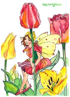 ACEO art print #7/25 of an original watercolor painting -Tulip Fairy after Cicely Mary Barker, Flower fairy, Collectible art, Saml gift idea