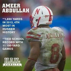 Husker running back Ameer Abdullah - Class act on and off the field. 2015 draft pick by Detroit.
