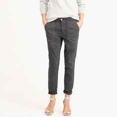"""There's a time and place for skinny and tight—this is not it. This slim boy pant (think body-<i>skimming</i>, not skinny) is made from a classic stretch chino with a supersoft garment-dyed wash, so it grazes your body—doesn't suffocate it. <ul><li>Sits lower on hips.</li><li>Relaxed through hip and thigh, with a tapered leg.</li><li>27"""" inseam.</li><li>Cotton/spandex.</li><li>Slant pockets, back patch pockets.</li><li>Machine wash.</li><li>Import.</li></ul>"""