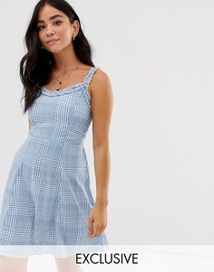 New Look sundress with ruffle edge in check   ASOS