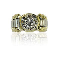 Trendy...Ein Uhrenarmband als massiver #Diamantring.  Ein #Diamant in Chatonfassung mit 1,686 ct blitzt im Mittelteil dieses schönen Bandringes. Im Verlauf nach unten wurden 3 Weißgoldtreppen eingearbeitet, wodurch die Ringschiene aufgelockert wird. Die Ringschiene ist in 18 kt #Gelbgold gehalten und verjüngt sich im Verlauf leicht nach unten.    Ringmaß: 62,5  Gewicht des Diamanten: 1,686 ct  http://schmuck-boerse.com/ring/206/detail.htm  http://schmuck-boerse.com/index-gold-ringe-9.htm