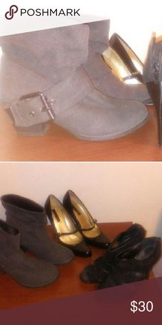 Bundle of shoes / good condition Bundle of shoes, short gray boots, black open toe heels, black heels. groove  Shoes Ankle Boots & Booties