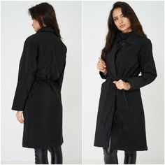 Womens Ladies Black PVC Trench Coat Mac Duster Jacket with Belt UK 8 10 12 14  #Unbranded #TrenchCoat #Outdoor Duster Jacket, Trench, Winter Fashion, Mac, High Neck Dress, Belt, Clothes For Women, Womens Fashion, Stuff To Buy