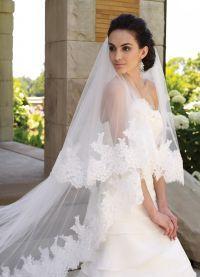 свадебные прически с длинной фатой3