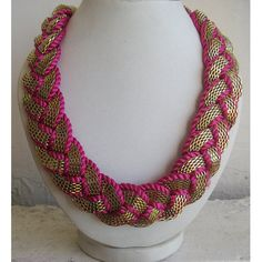 Braided Necklace/Pink Necklace/Gold by FootSoles on Etsy