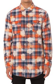 Orange Bleached Plaid Flannel