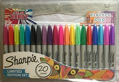 Sharpie electro pop limited edition marker pens, fine nib, assorted ink (pack of Karen O'neil, Sharpie Colors, Sharpie Paint Pens, Page Marker, Marker Pen, Art Drawings For Kids, Easy Drawings, Drawing Ideas, Art Gallery