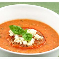 Creamy Tomato-Basil Soup with Goat Cheese Recipe ... ummmm. Must try!